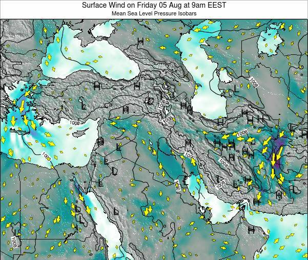 Israel Surface Wind on Saturday 21 Jan at 2pm EET
