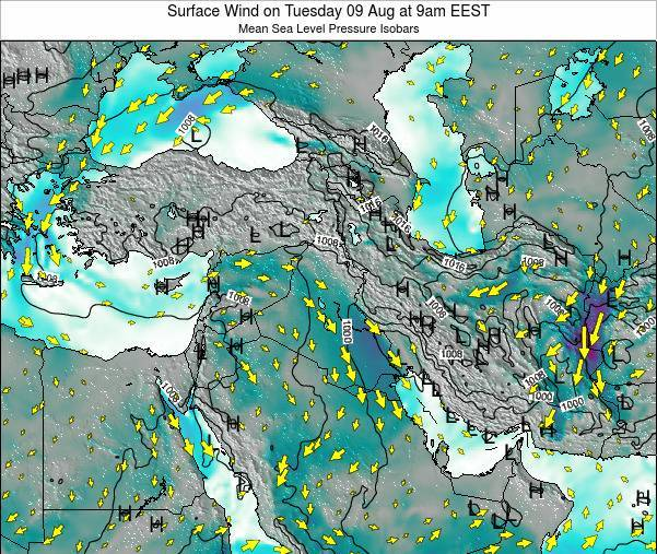Israel Surface Wind on Thursday 31 Jul at 9am EEST