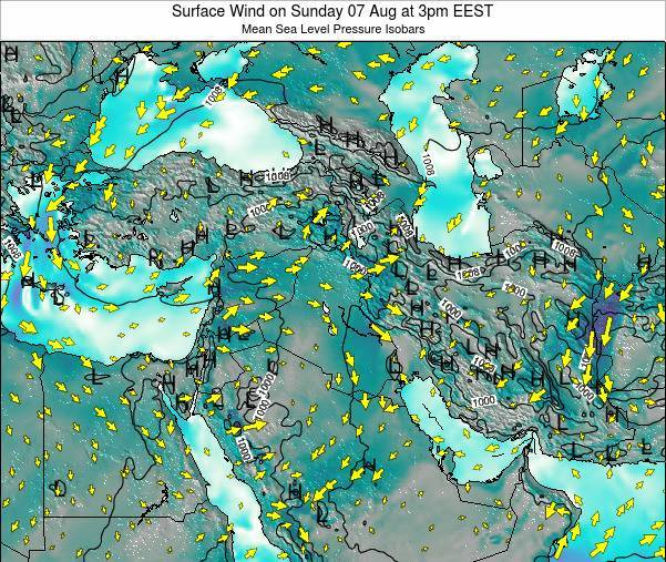 Israel Surface Wind on Thursday 22 Mar at 2am EET map