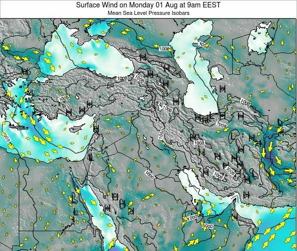 Israel Surface Wind on Wednesday 11 Dec at 2am EET