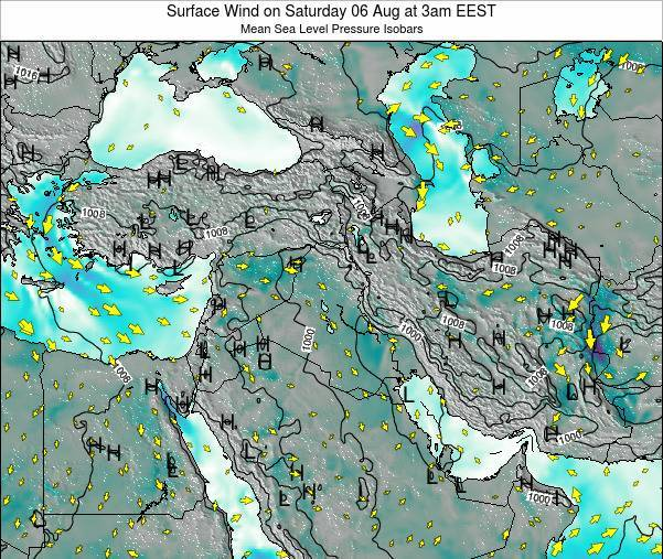 Lebanon Surface Wind on Monday 22 Dec at 2am EET