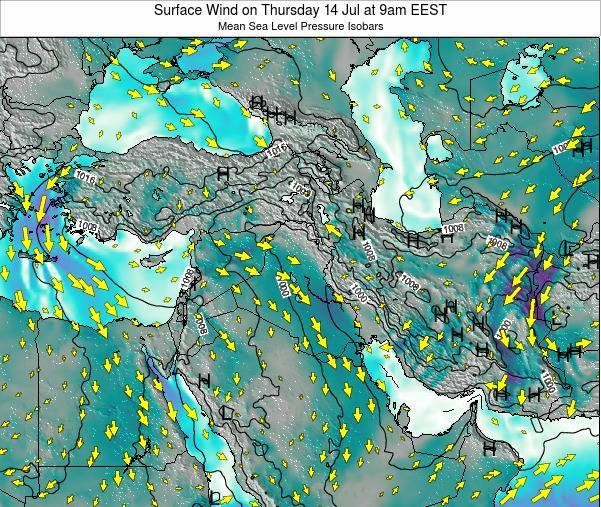 Israel Surface Wind on Monday 23 Jul at 9am EEST map