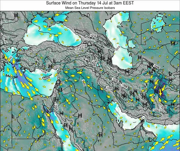 Israel Surface Wind on Tuesday 25 Oct at 9am EEST