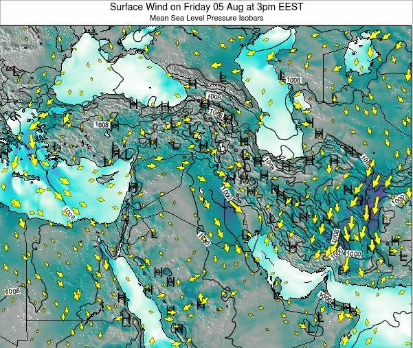 Israel Surface Wind on Saturday 25 Jun at 9pm EEST