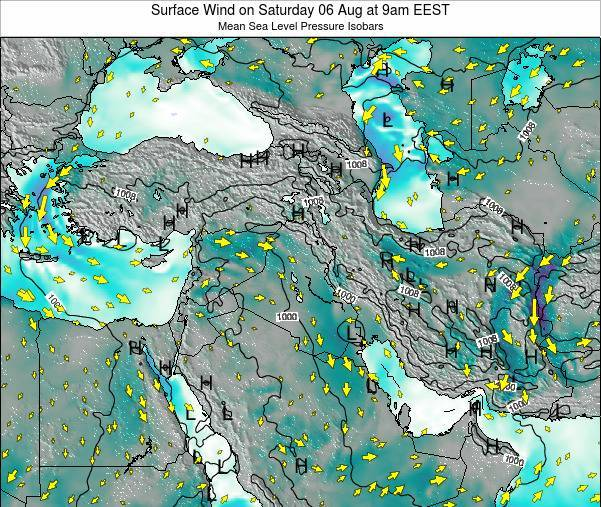 Lebanon Surface Wind on Friday 25 Jul at 9am EEST