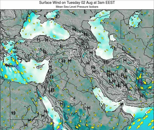 Israel Surface Wind on Sunday 28 Aug at 9pm EEST
