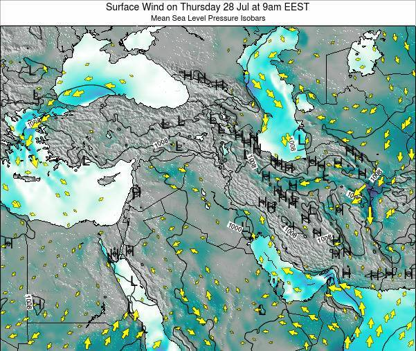 Israel Surface Wind on Friday 25 Jul at 3am EEST