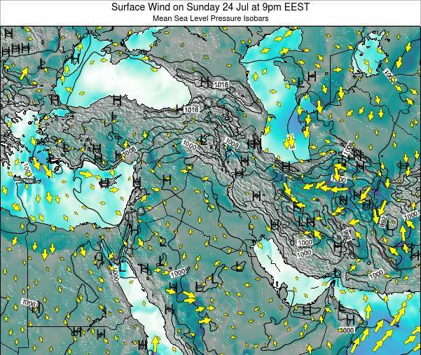 Israel Surface Wind on Saturday 26 Apr at 9am EEST