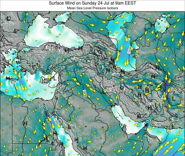 Israel Surface Wind on Wednesday 12 Mar at 8am EET