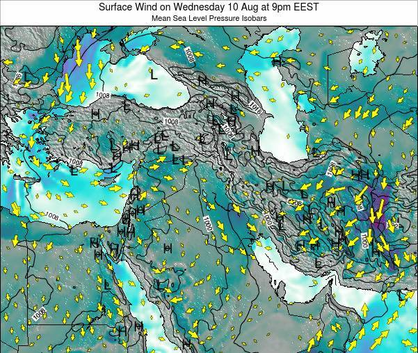 Israel Surface Wind on Tuesday 22 Apr at 9pm EEST