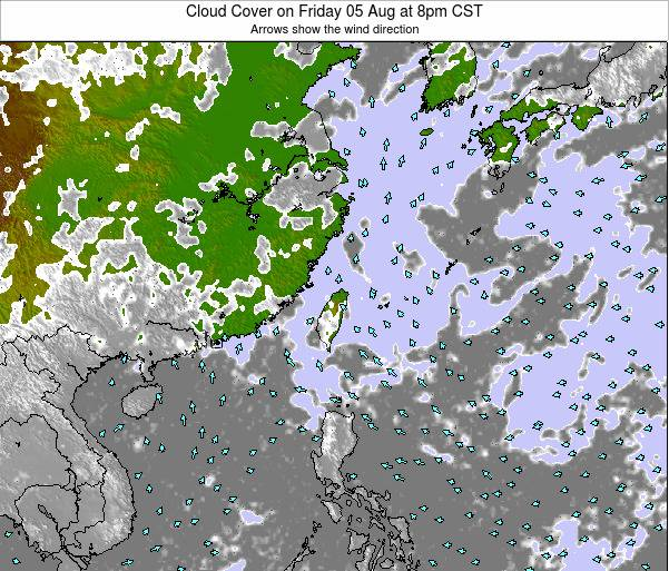 Taiwan Cloud Cover on Friday 18 Apr at 8am CST map