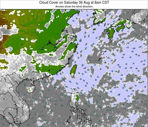 Taiwan Cloud Cover on Wednesday 30 Jul at 2am CST map