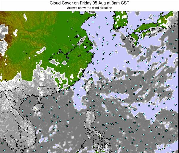 Taiwan Cloud Cover on Sunday 19 May at 2pm CST map