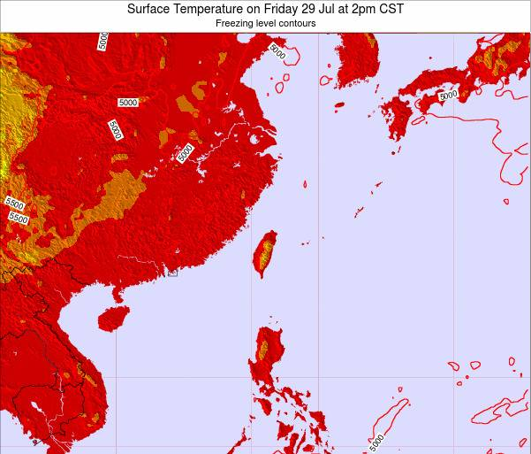 Taiwan Surface Temperature on Saturday 25 May at 2pm CST map
