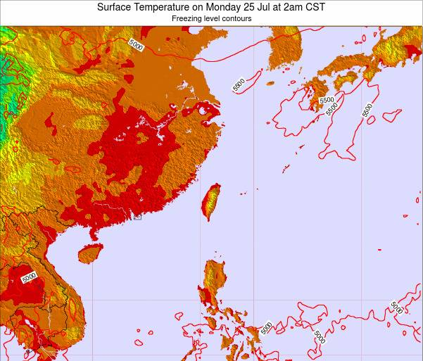 Taiwan Surface Temperature on Monday 20 May at 2am CST map