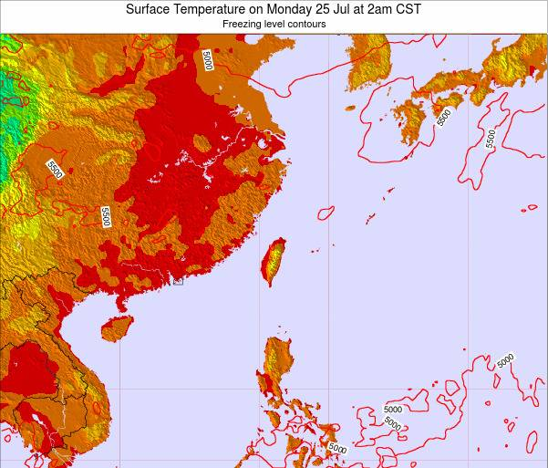 Taiwan Surface Temperature on Tuesday 28 May at 2pm CST map