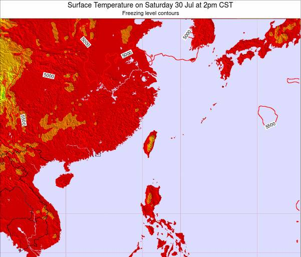 Taiwan Surface Temperature on Thursday 30 May at 8am CST map