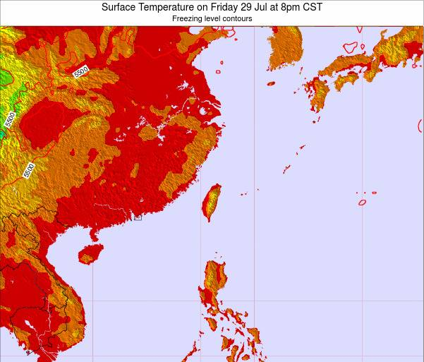Taiwan Surface Temperature on Tuesday 25 Jun at 8am CST map