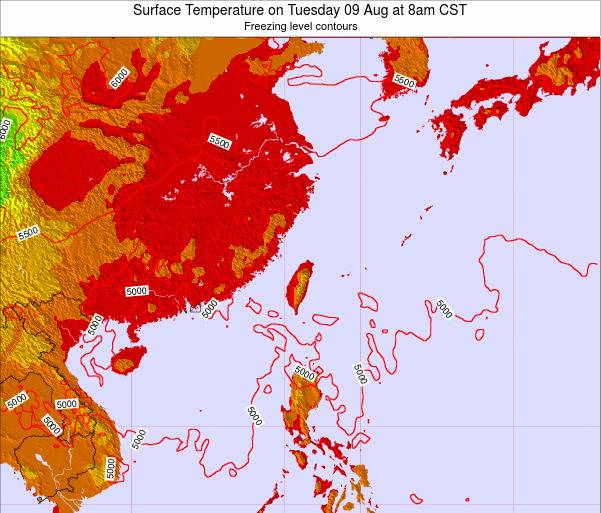 Taiwan Surface Temperature on Friday 21 Jun at 2am CST map