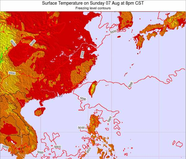 Taiwan Surface Temperature on Saturday 22 Jun at 2pm CST map