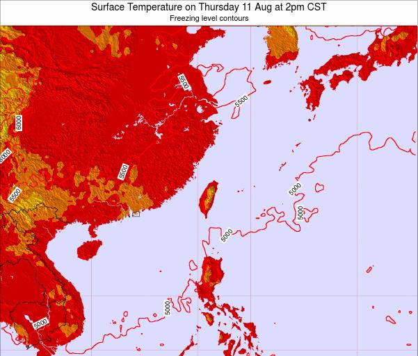 Taiwan Surface Temperature on Saturday 25 May at 8am CST map