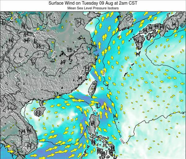 Taiwan Surface Wind on Thursday 23 May at 2am CST