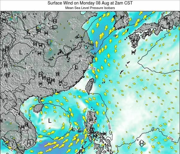 Taiwan Surface Wind on Friday 06 Dec at 2am CST map
