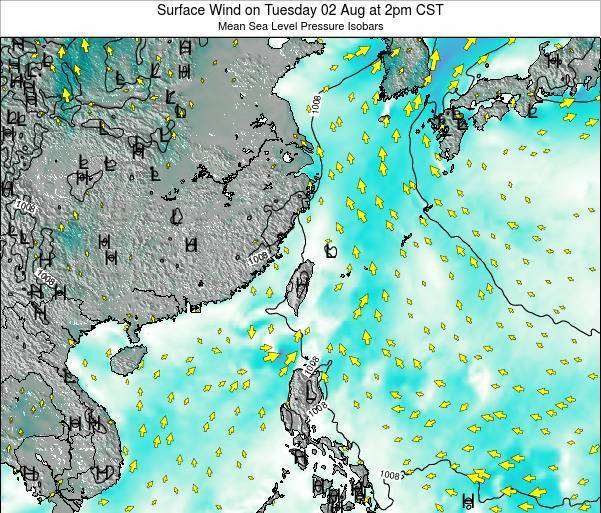 Taiwan Surface Wind on Saturday 19 Apr at 2pm CST map