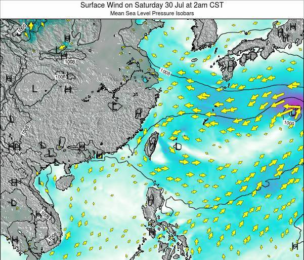 Taiwan Surface Wind on Wednesday 29 May at 8am CST