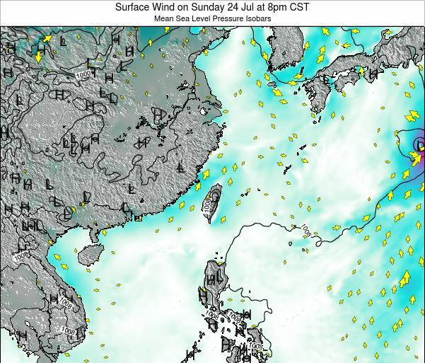 Taiwan Surface Wind on Thursday 30 May at 2pm CST