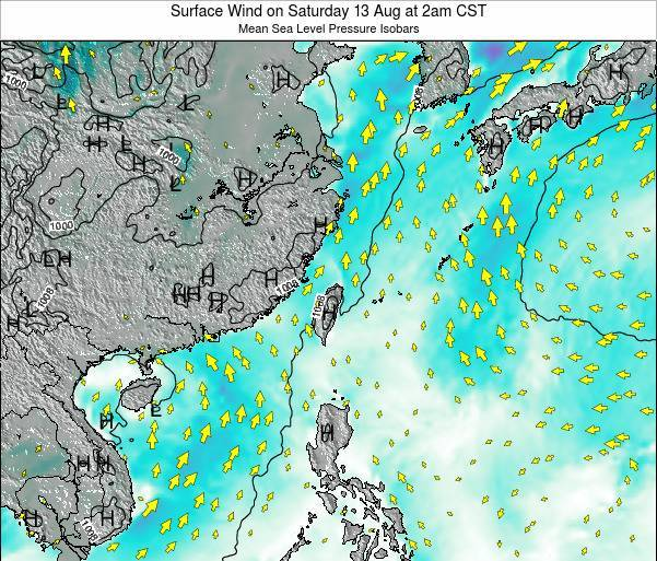 Taiwan Surface Wind on Tuesday 28 May at 2am CST