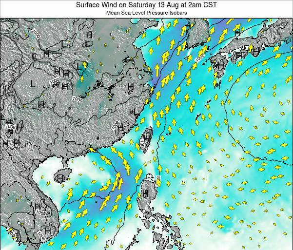 Taiwan Surface Wind on Wednesday 29 May at 8pm CST