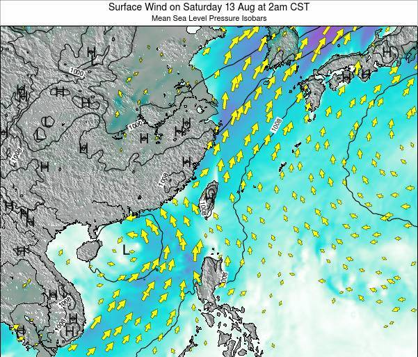 Taiwan Surface Wind on Monday 30 Oct at 8pm CST