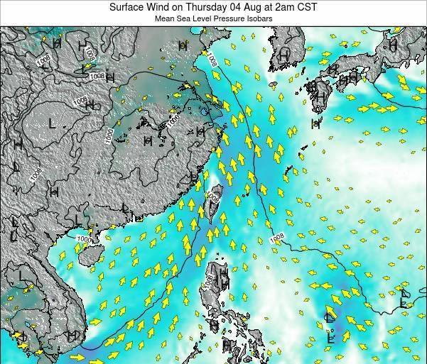 Taiwan Surface Wind on Monday 28 Apr at 2am CST