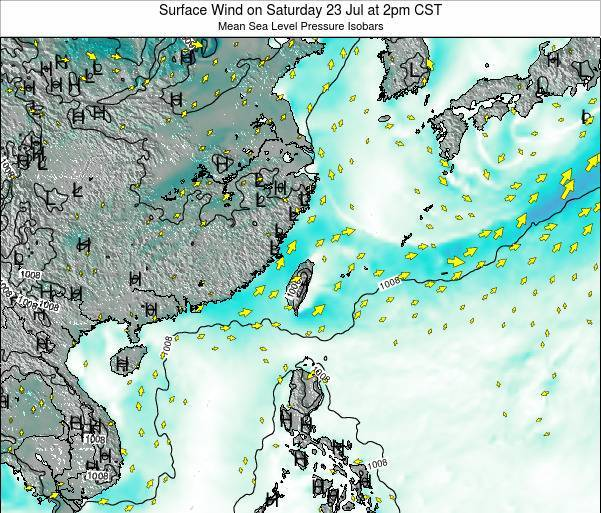 Taiwan Surface Wind on Thursday 07 Aug at 8am CST