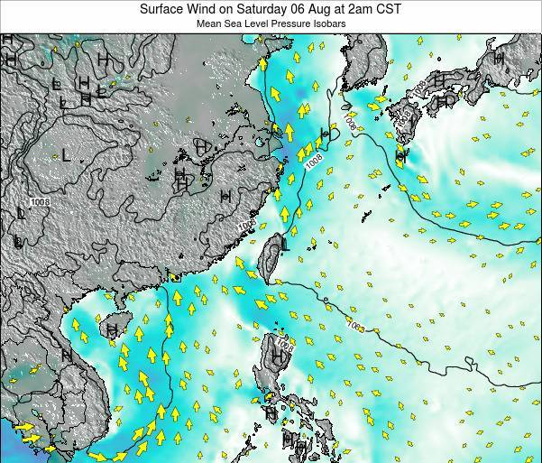 Taiwan Surface Wind on Tuesday 10 Mar at 2pm CST