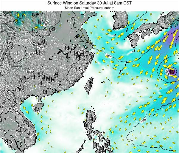 Taiwan Surface Wind on Monday 17 Mar at 8pm CST
