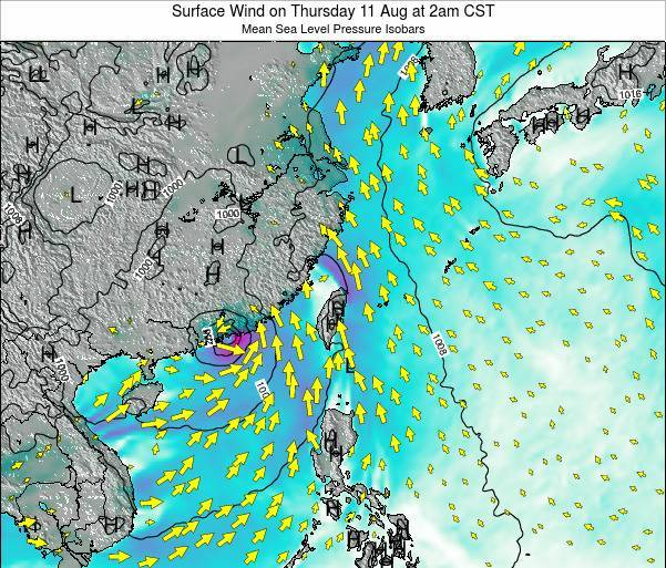 Taiwan Surface Wind on Sunday 26 May at 8pm CST