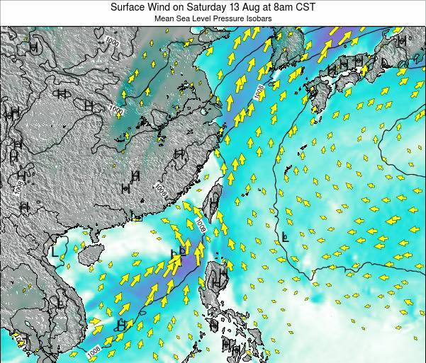 Taiwan Surface Wind on Monday 29 Jan at 2am CST map