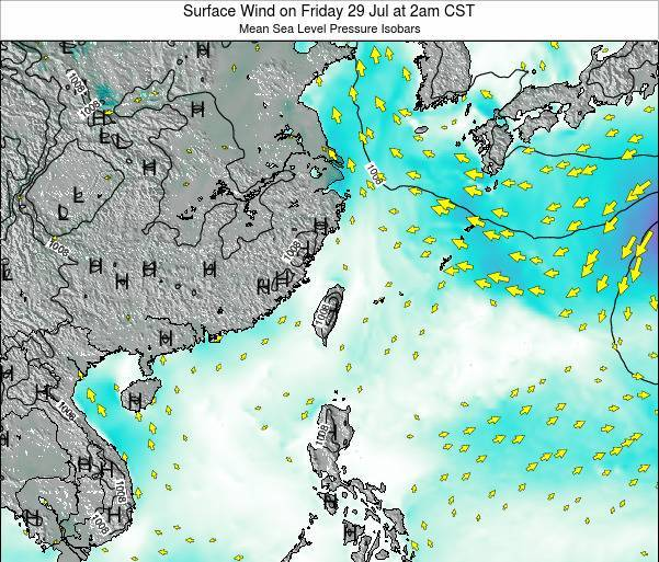 Taiwan Surface Wind on Wednesday 30 Apr at 8am CST