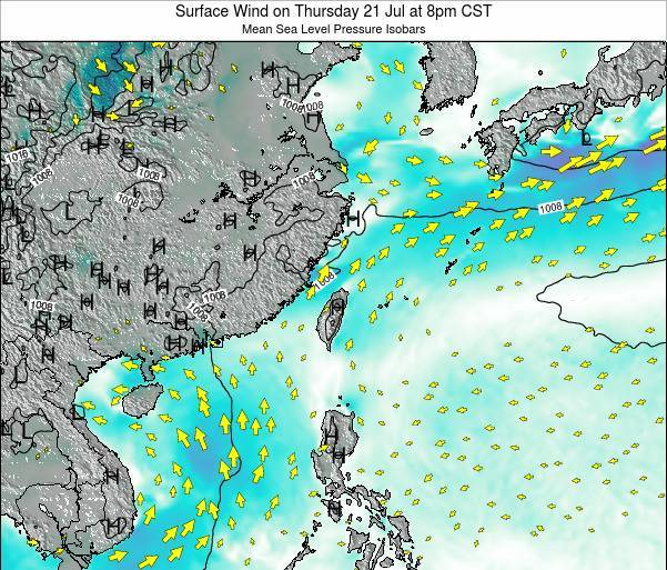 Taiwan Surface Wind on Saturday 01 Jul at 8pm CST