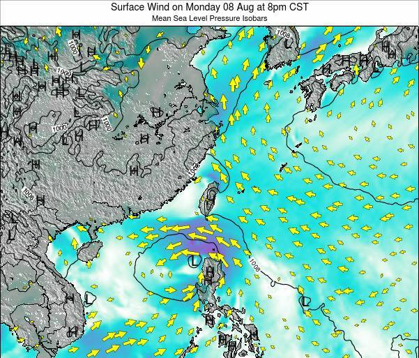 Taiwan Surface Wind on Tuesday 02 Dec at 2am CST