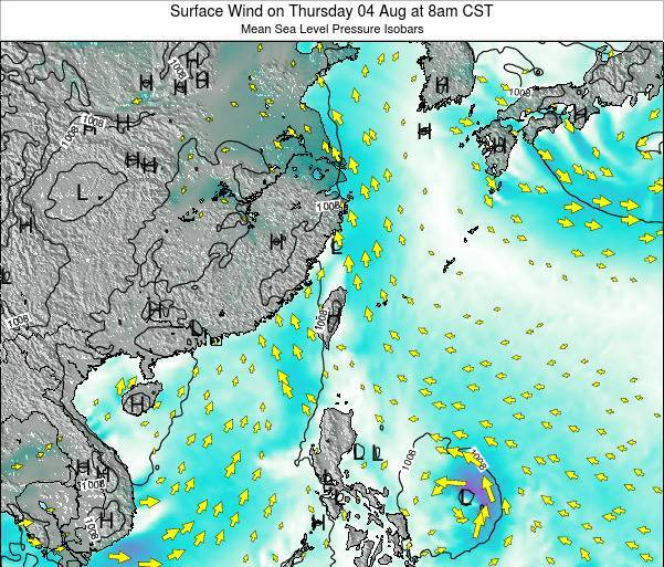 Taiwan Surface Wind on Tuesday 04 Aug at 8pm CST