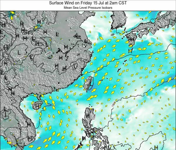 Taiwan Surface Wind on Sunday 26 May at 2am CST