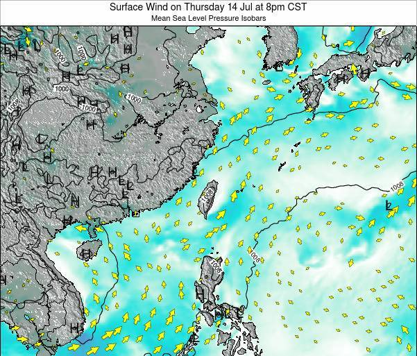 Taiwan Surface Wind on Thursday 23 May at 8am CST