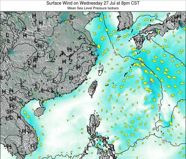 Taiwan Surface Wind on Thursday 23 May at 2pm CST