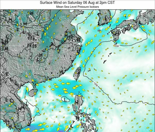Taiwan Surface Wind on Saturday 25 May at 8pm CST