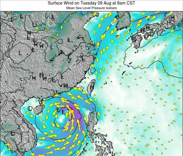 Taiwan Surface Wind on Monday 27 May at 2pm CST
