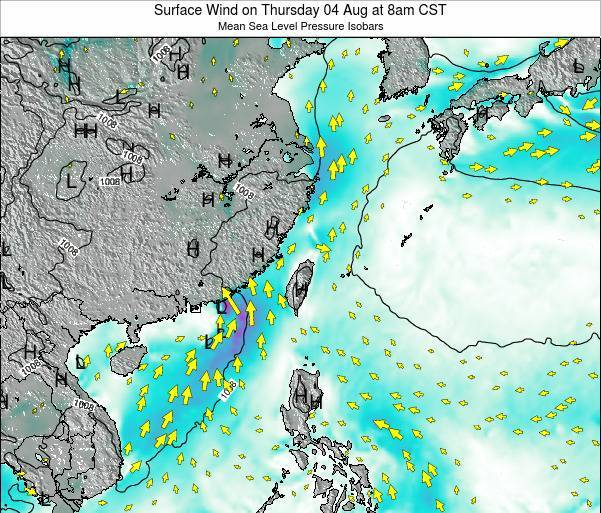 Taiwan Surface Wind on Monday 27 May at 8pm CST