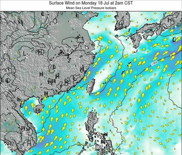 Taiwan Surface Wind on Wednesday 22 May at 2am CST